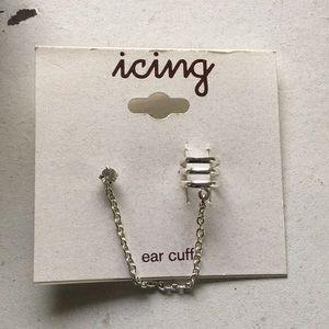 Silver ear cuff & chain